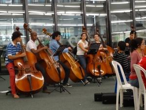 Sección de contrabajos de la Orquesta Infantil